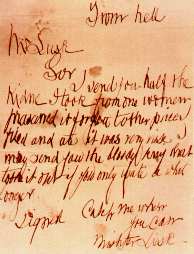 Jack the ripper letter from hell