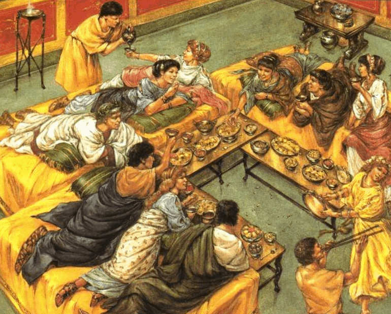 Ancient Romans eating